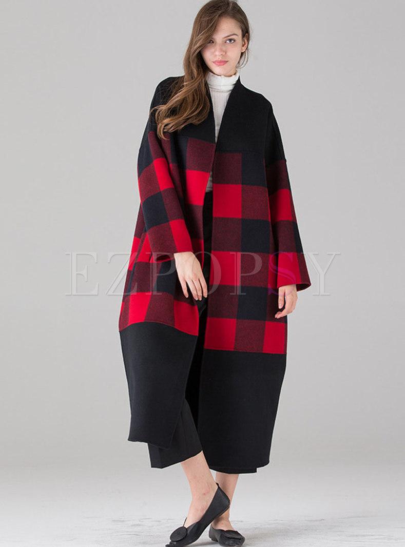 Plus Size Plaid Color-blocked Long Overcoat