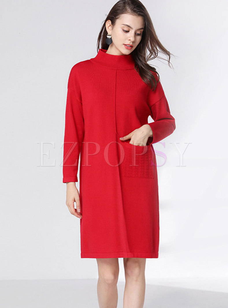 Half Collar Sweater Dress With Belt