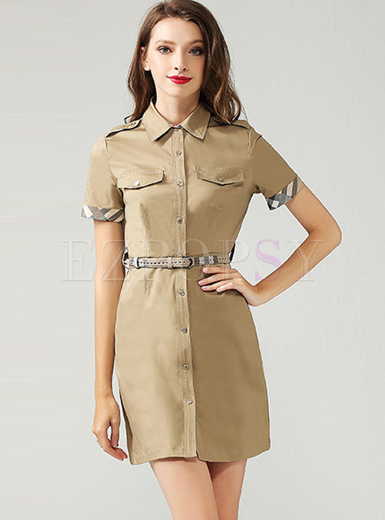 Fashion Khaki Patchwork A Line Dress With Belt