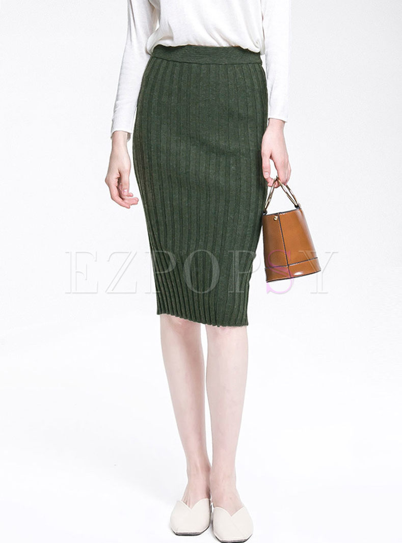 Solid Color High Waisted Slit Knitted Skirt