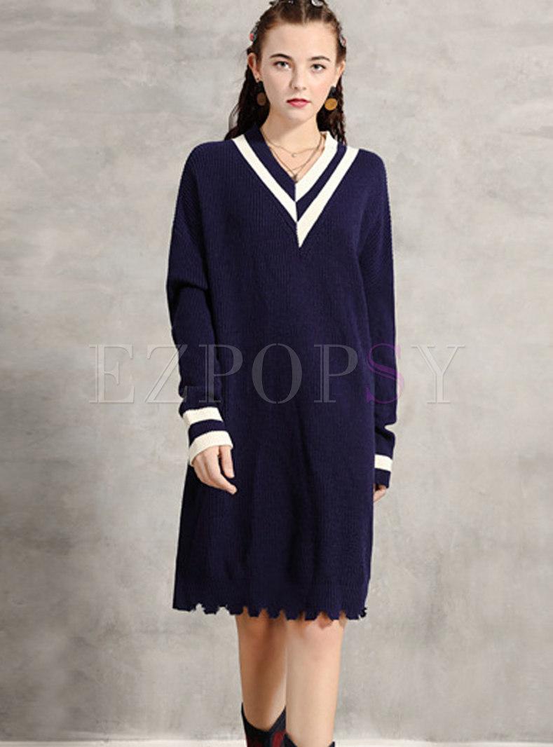 V-neck Color-blocked Straight Sweater Dress