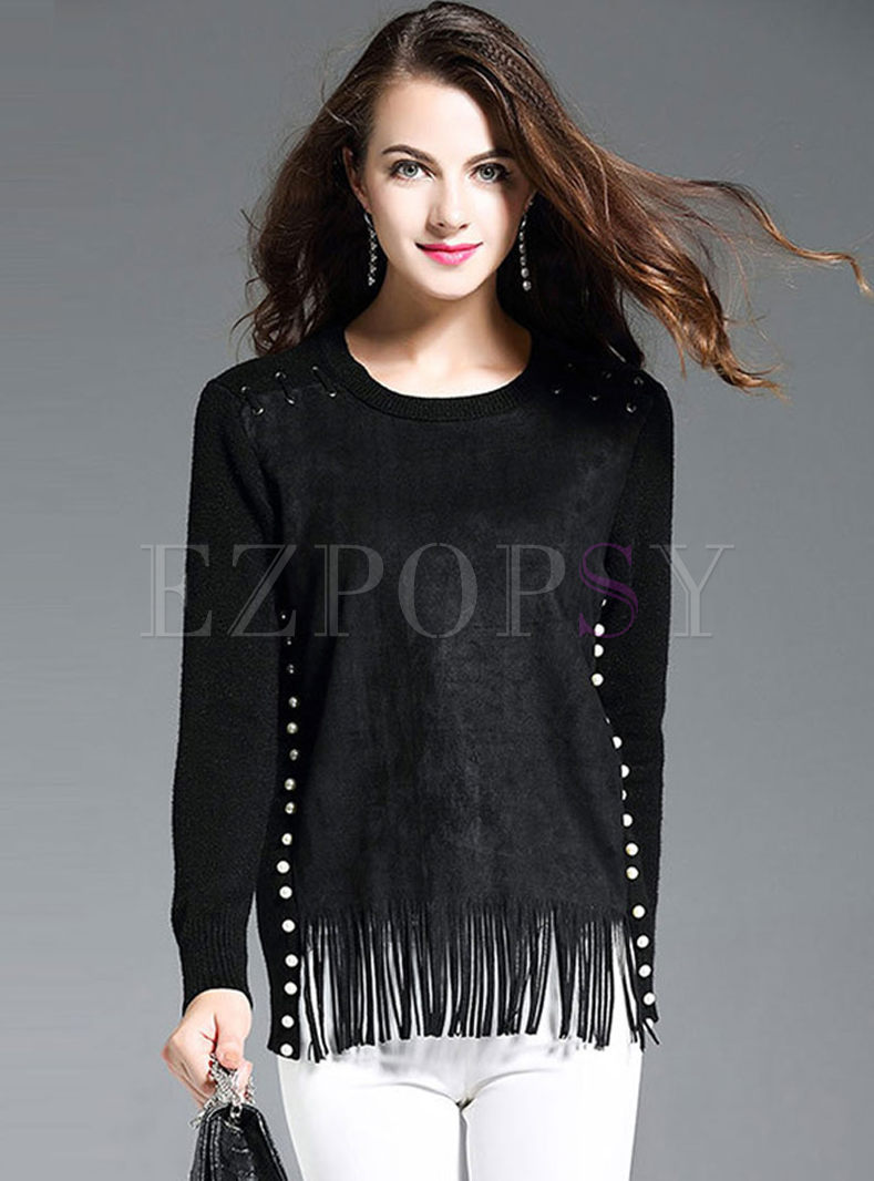 O-neck Pullover Suede Tassel Wool Sweater