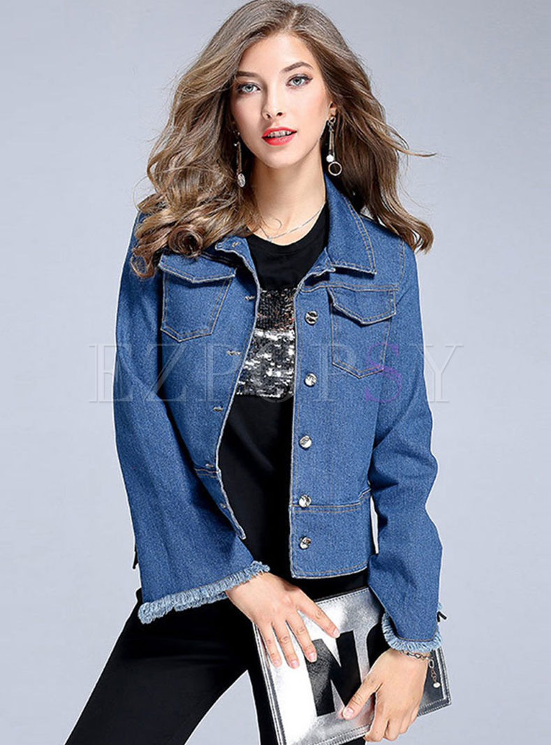 Blue Lapel Flare Sleeve Loose Denim Coat