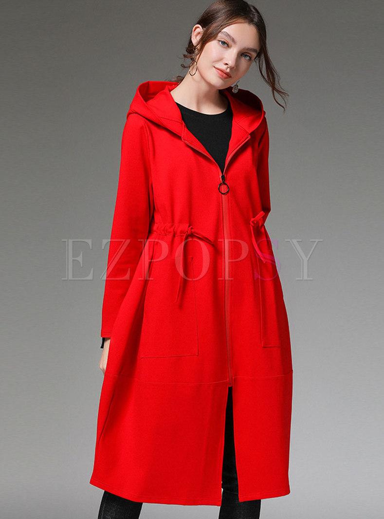 Zipper Loose Hooded Plus Size Coat