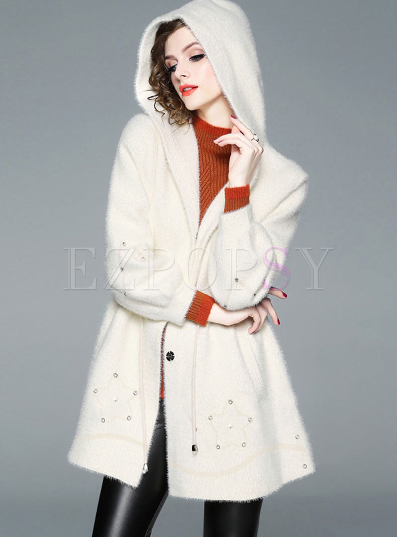 Beading Waist Hooded Coat With Drawcord