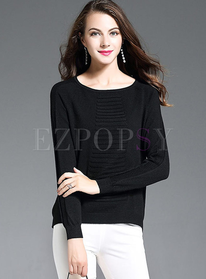 Solid Color O-neck Pullover Sweater