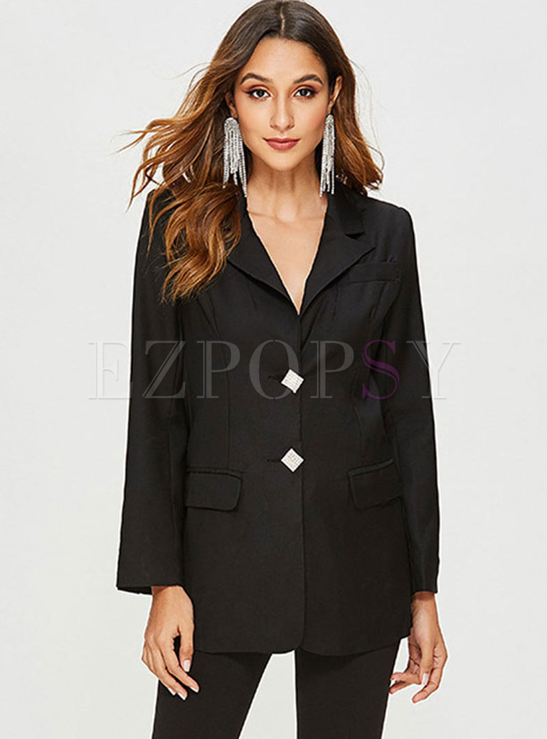 Work Solid Color Notched Slim Blazer