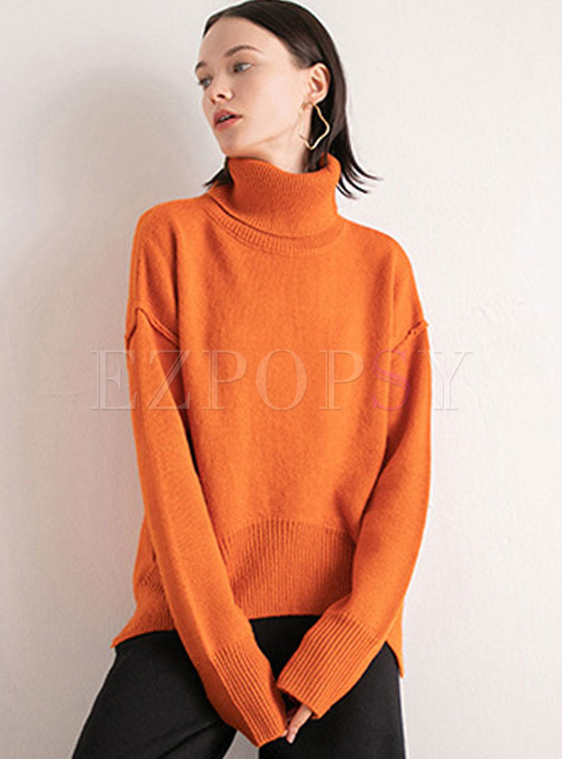 Black Loose Pullover Slit Sweater