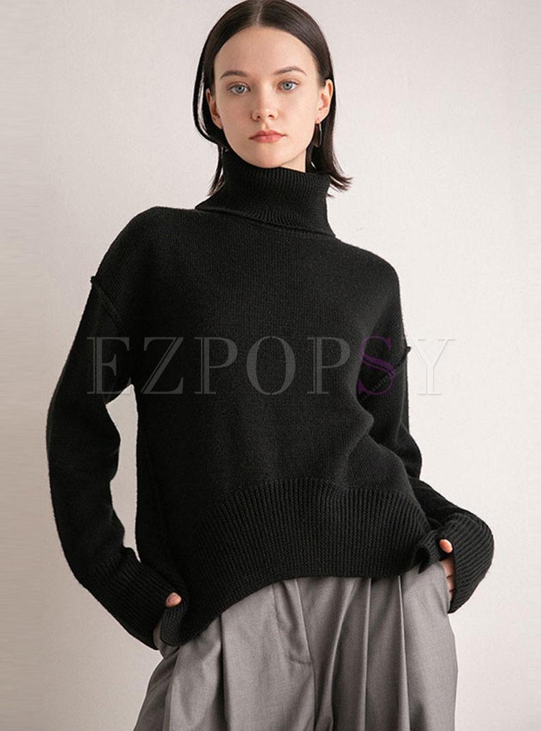 Turtleneck Long Sleeve Loose Sweater