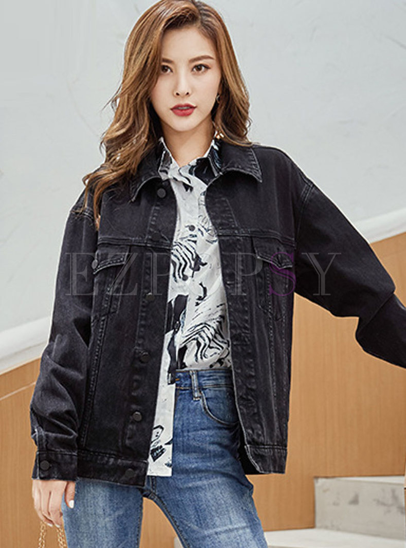 Casual Black Straight Denim Coat