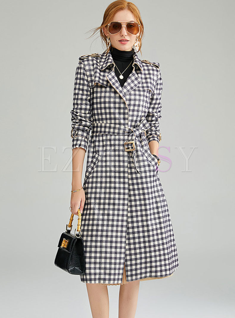 Notched Long Sleeve Plaid Trench Coat