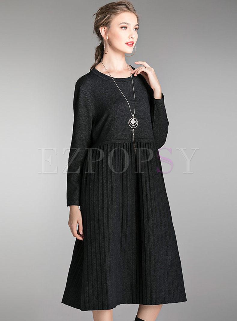 Plus Size O-neck Long Sleeve Sweater Dress