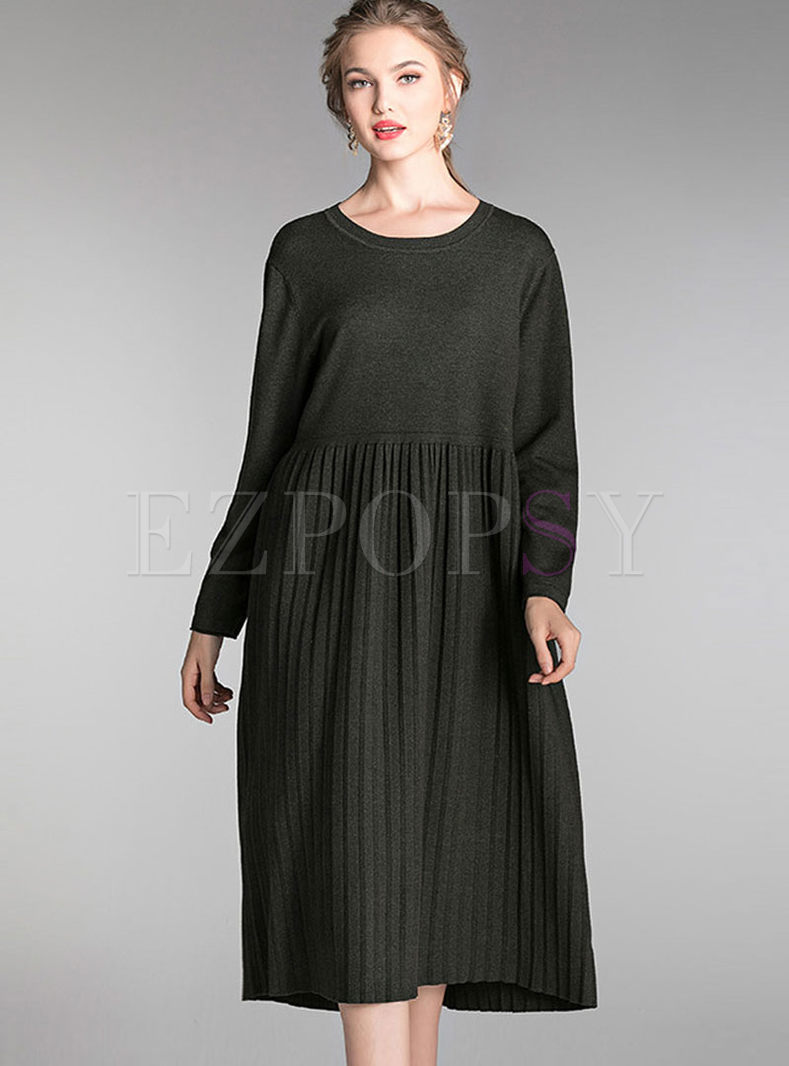 Plus Size O-neck Long Sleeve Sweater Dress