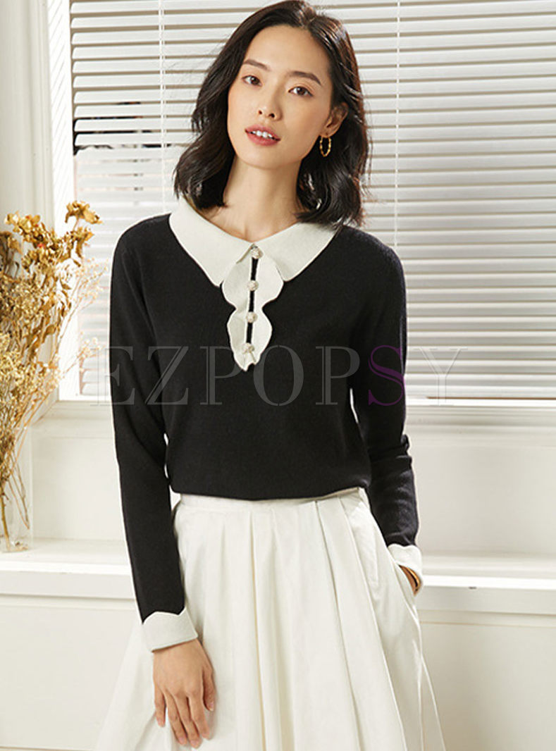 Lapel Patchwork Slim Pullover Sweater