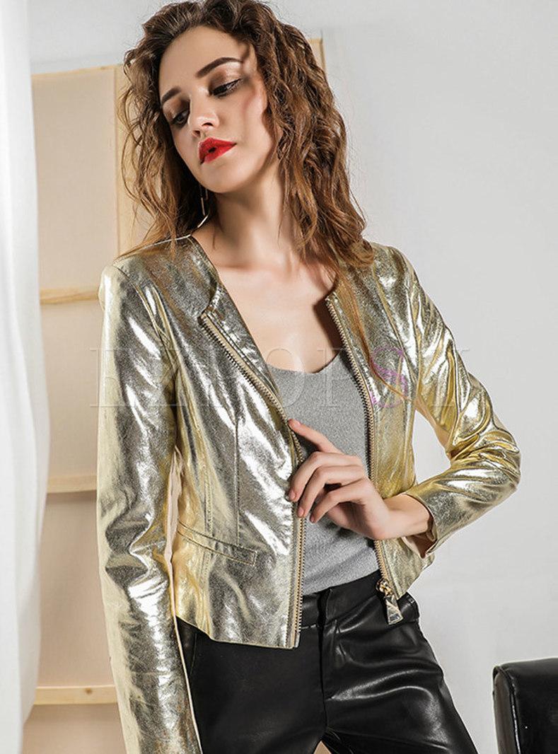 Gold Slim Short Bomber Jacket