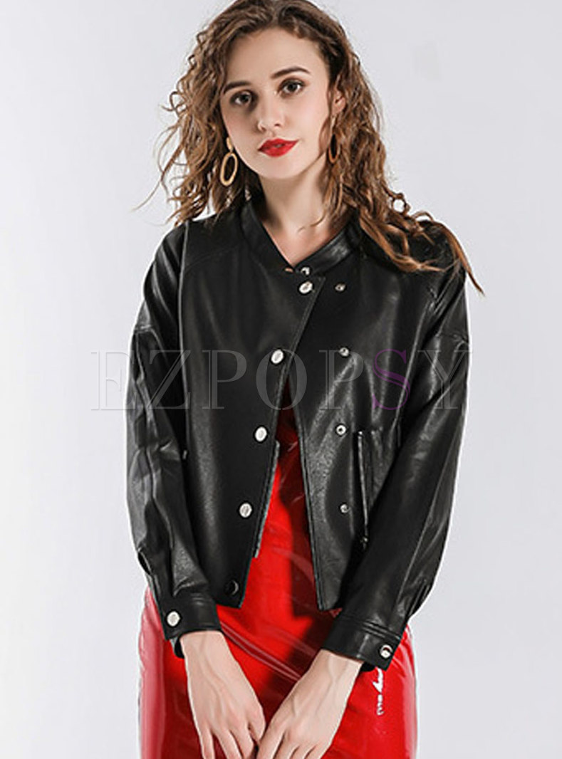 Solid Color Stand Collar Short Bomber Jacket