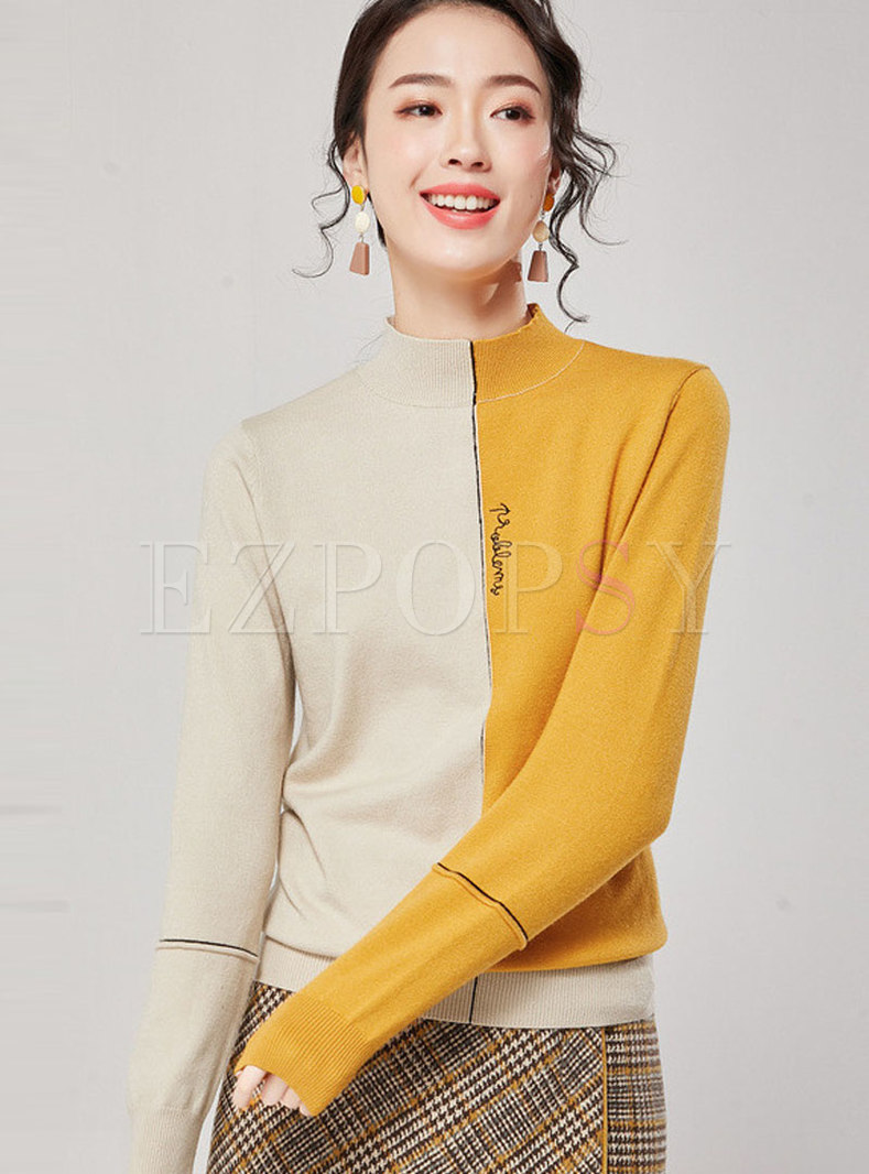 Casual Stand Collar Color-blocked Pullover Sweater