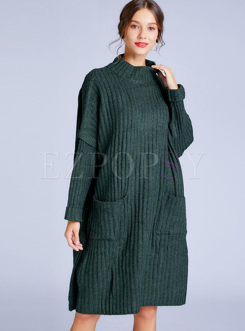 Stand Collar Loose Sweater Dress