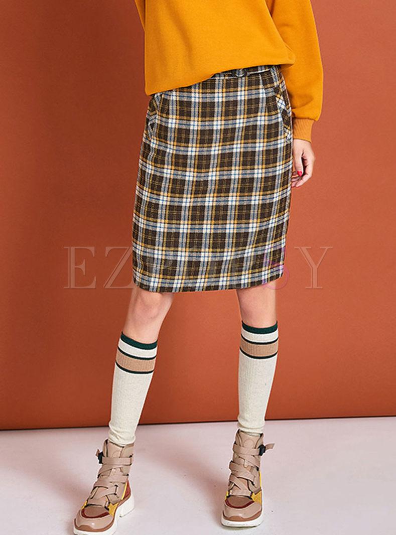 High Waisted Plaid Bodycon Slit Skirt