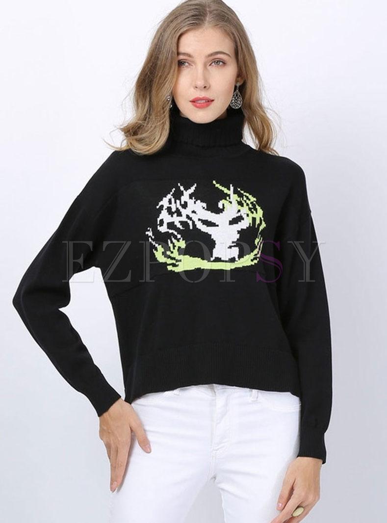 Turtleneck Long Sleeve Pullover Slit Sweater
