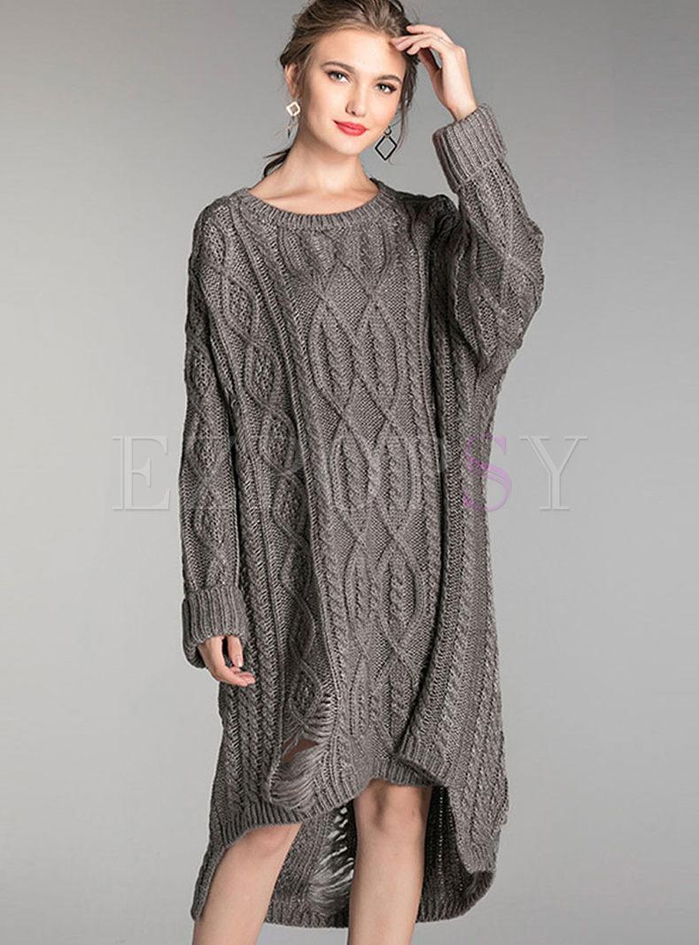 Plus Size O-neck Hole Asymmetric Sweater Dress