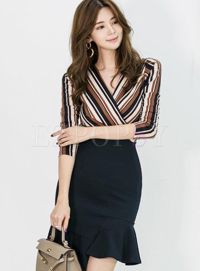 V-neck Patchwork Striped Mercerized Bodycon Dress