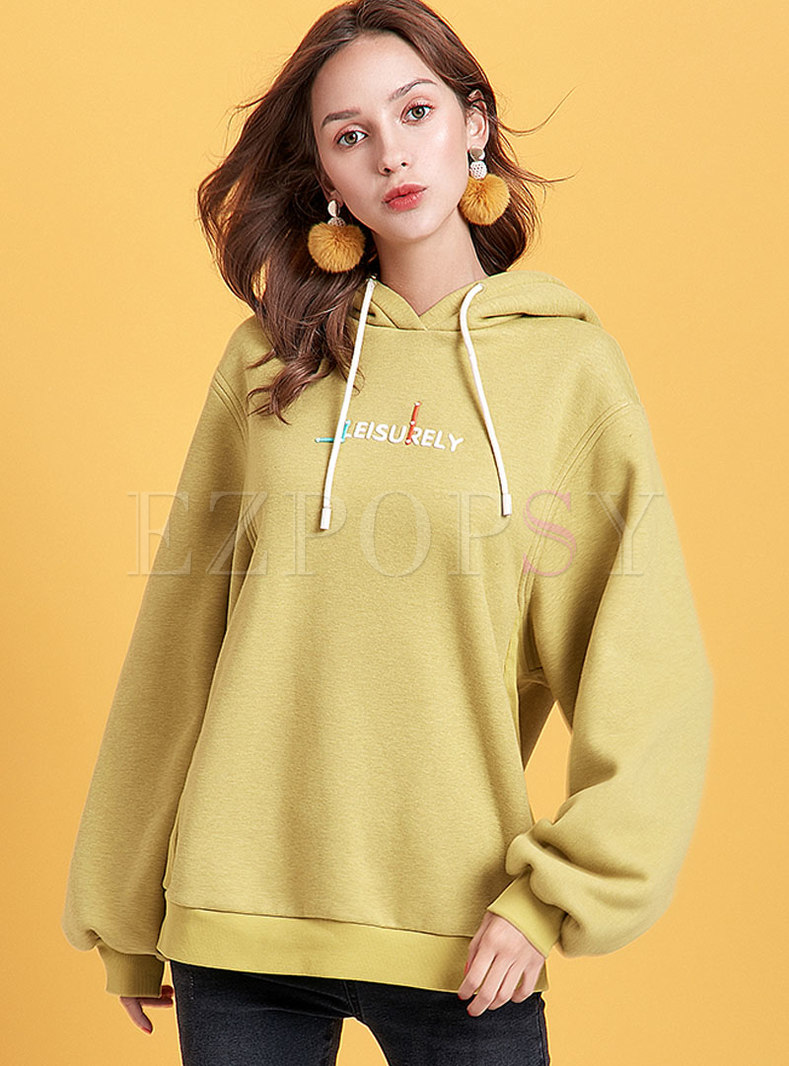 Letter Embroidered Hooded Straight Sweatshirt