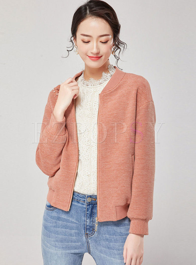 Long Sleeve Loose Front Zipper Short Jacket