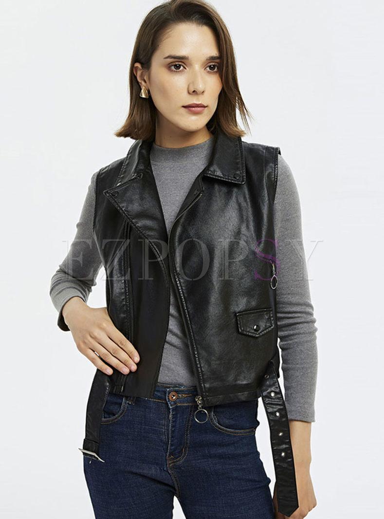 Notched Sleeveless Side Zipper Vest