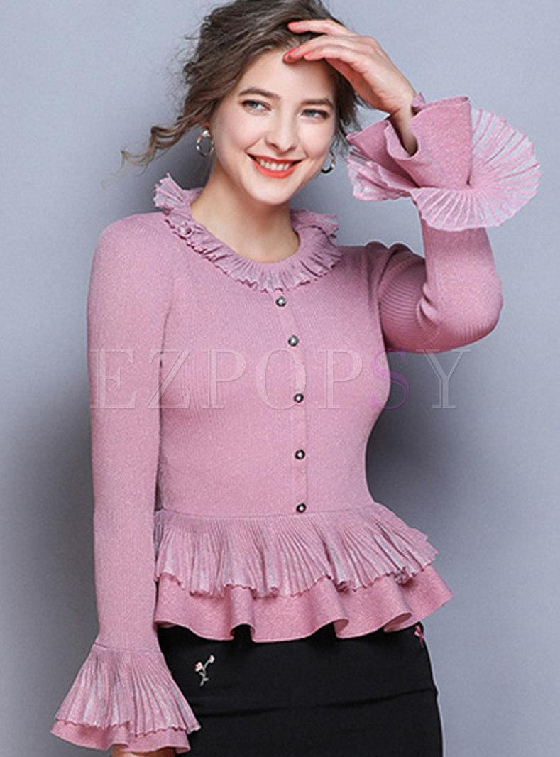 O-neck Flare Sleeve Falbala Pullover Slim Sweater