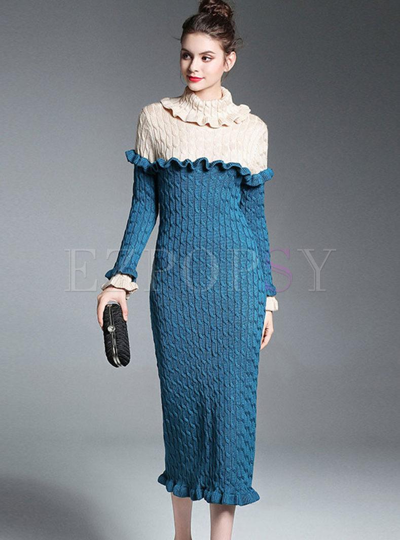 Color-blocked Ruffle Neck Slim Sweater Dress