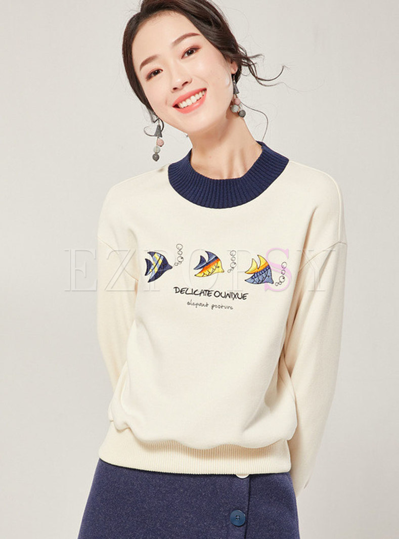 Stand Collar Color-blocked Embroidered Sweatshirt
