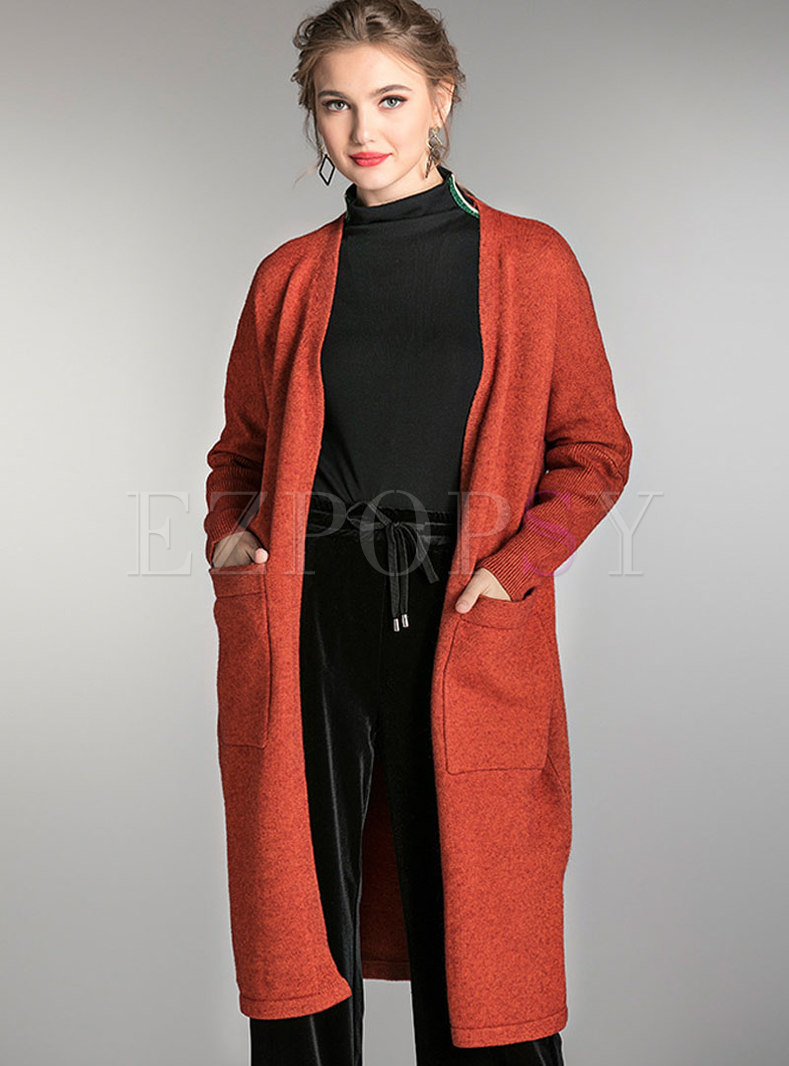 Solid Color Zip-up Sweater Coat With Pocket