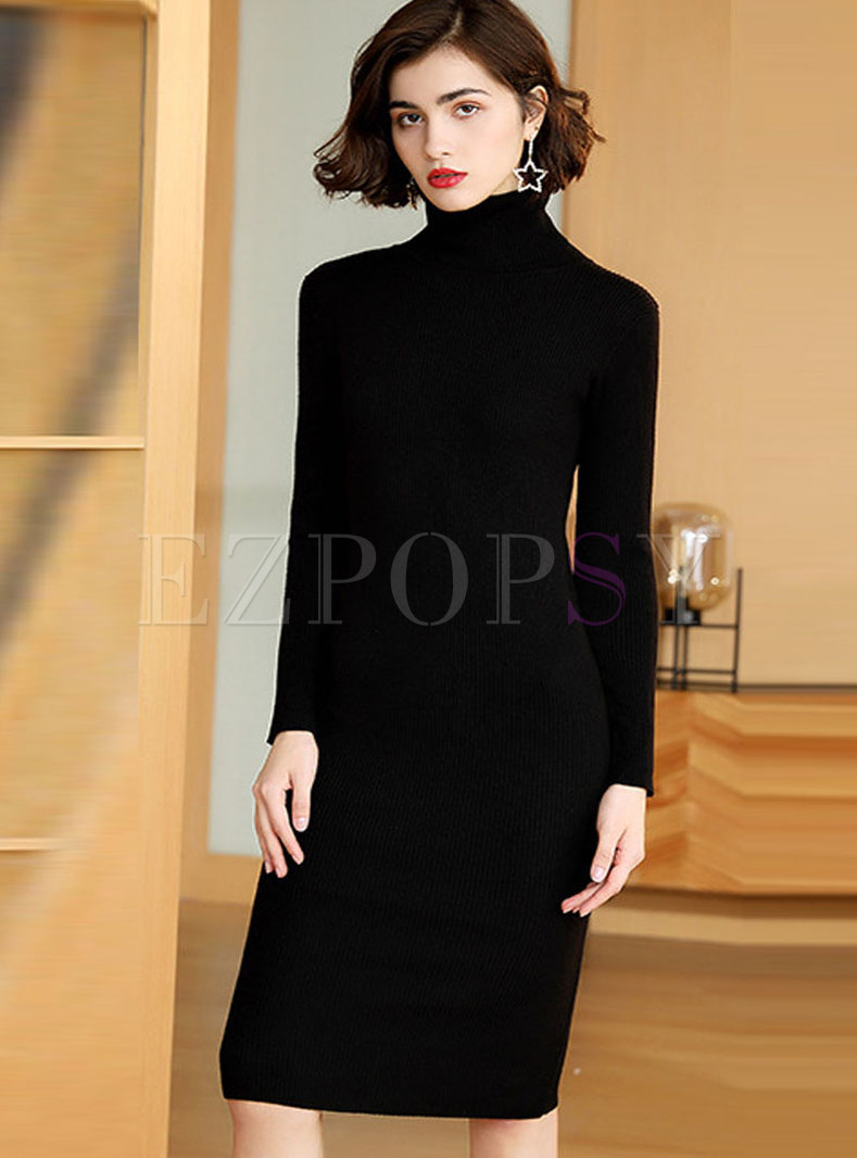 Solid Color High Collar Slim Sweater Dress