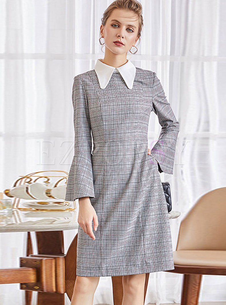 Doll Collar Flare Sleeve Plaid Slim Dress