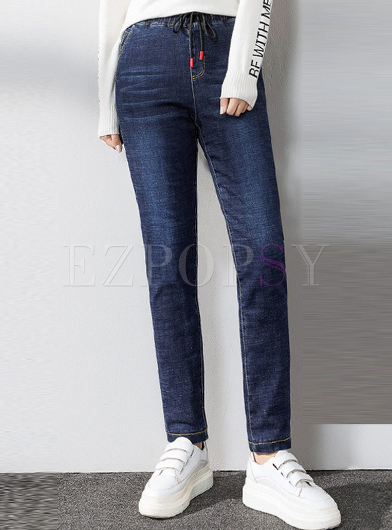 Elastic Waisted Thick Silk Tapered Denim Pants