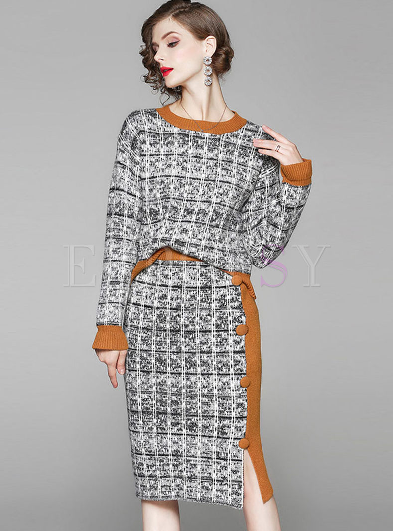 Color-blocked O-neck Knitted Slit Two Piece Dress