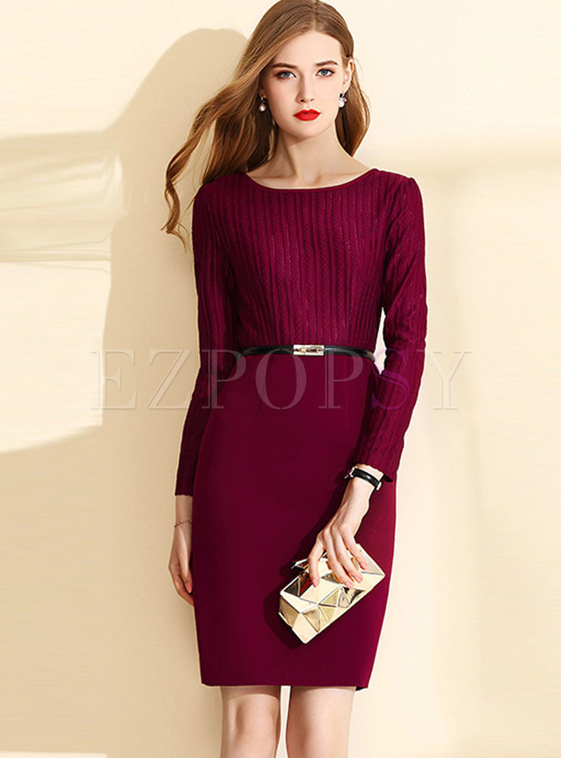 Wine Red Bodycon Sweater Dress