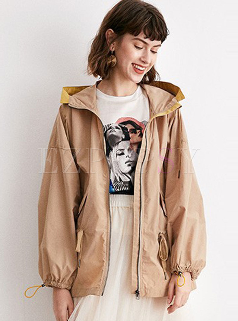 Casual Hooded Trench Coat With Drawcord