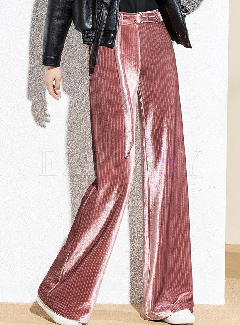 Casual High Waisted Velvet Wide Leg Pants