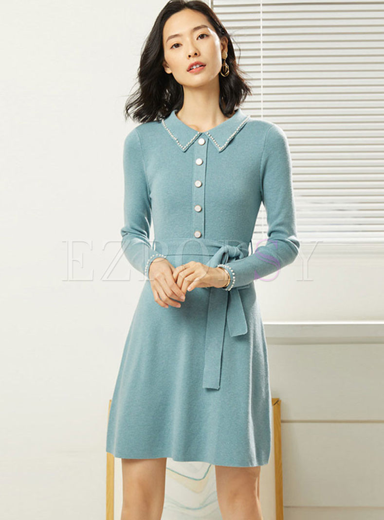 Solid Color Beads Waist Sweater Dress