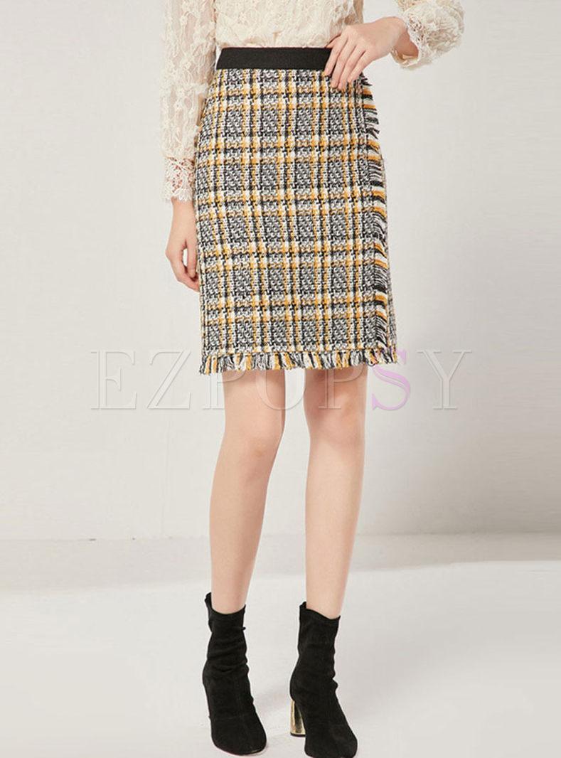 High Waisted Plaid Tassel Mini Skirt