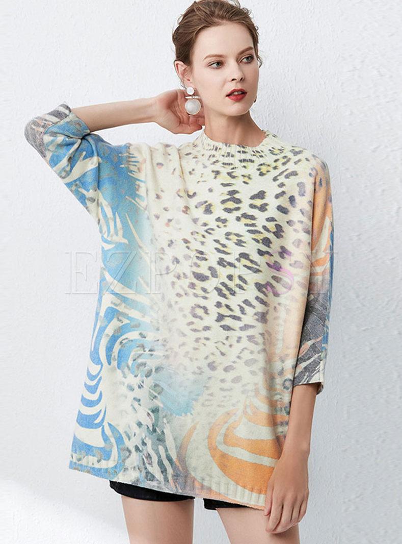 O-neck Bat Sleeve Pullover Print Sweater