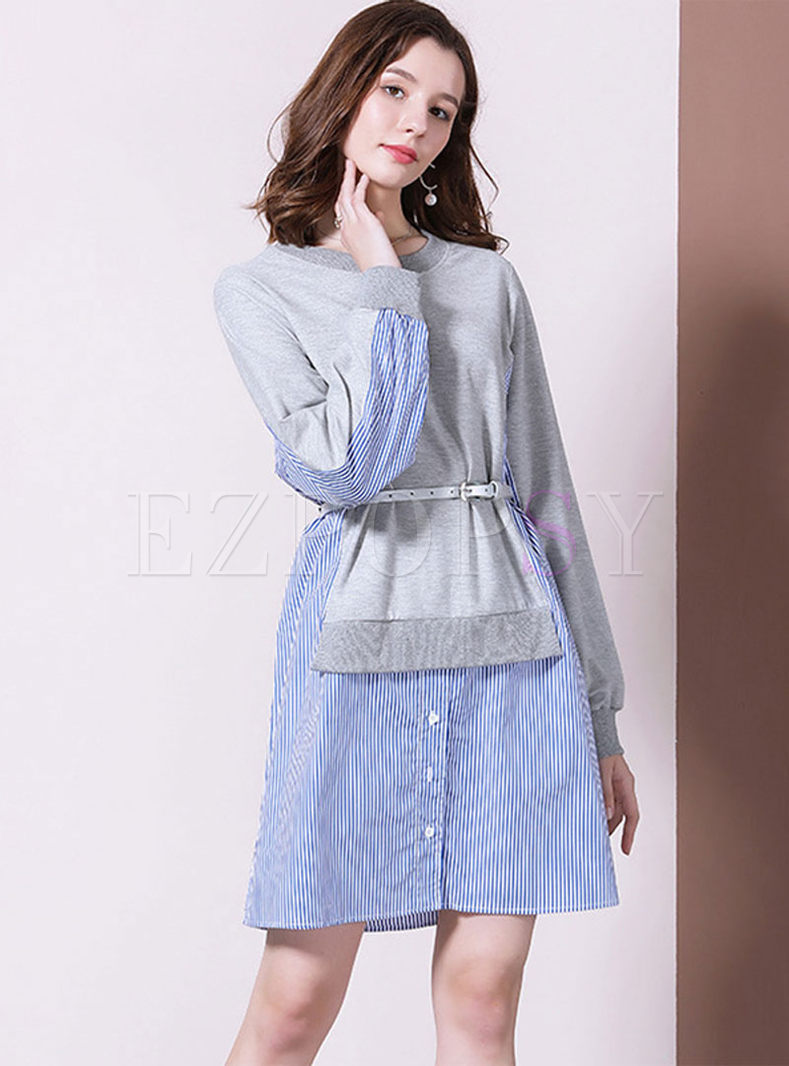 Casual O-neck Patchwork Stripe Dress Without Belt