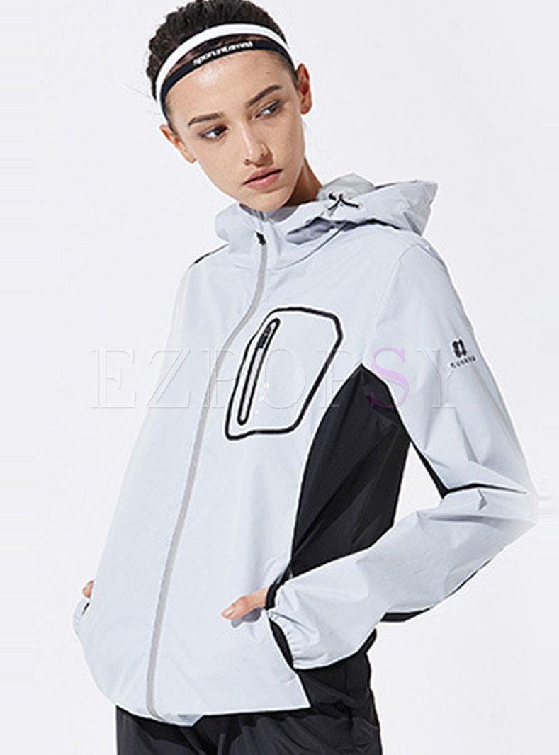 Color-blocked Straight Hooded Sport Jacket