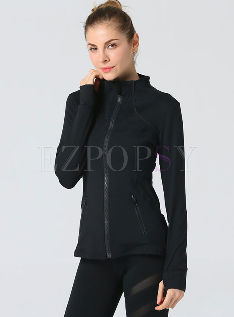 Stand Collar Long Sleeve Full Zipper Jacket