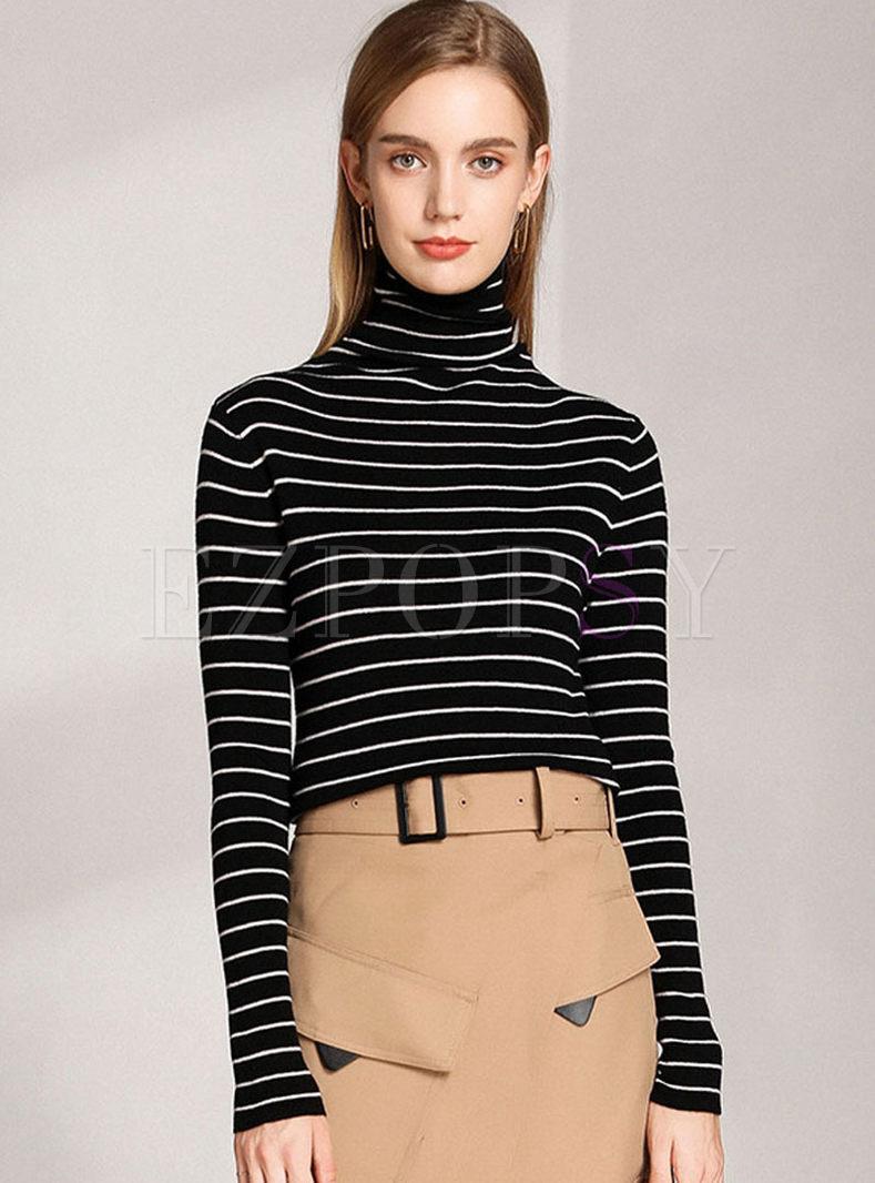 Turtleneck Stripe Pullover Slim Sweater