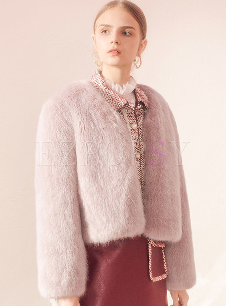 Solid Color Straight Short Faux Fur Coat