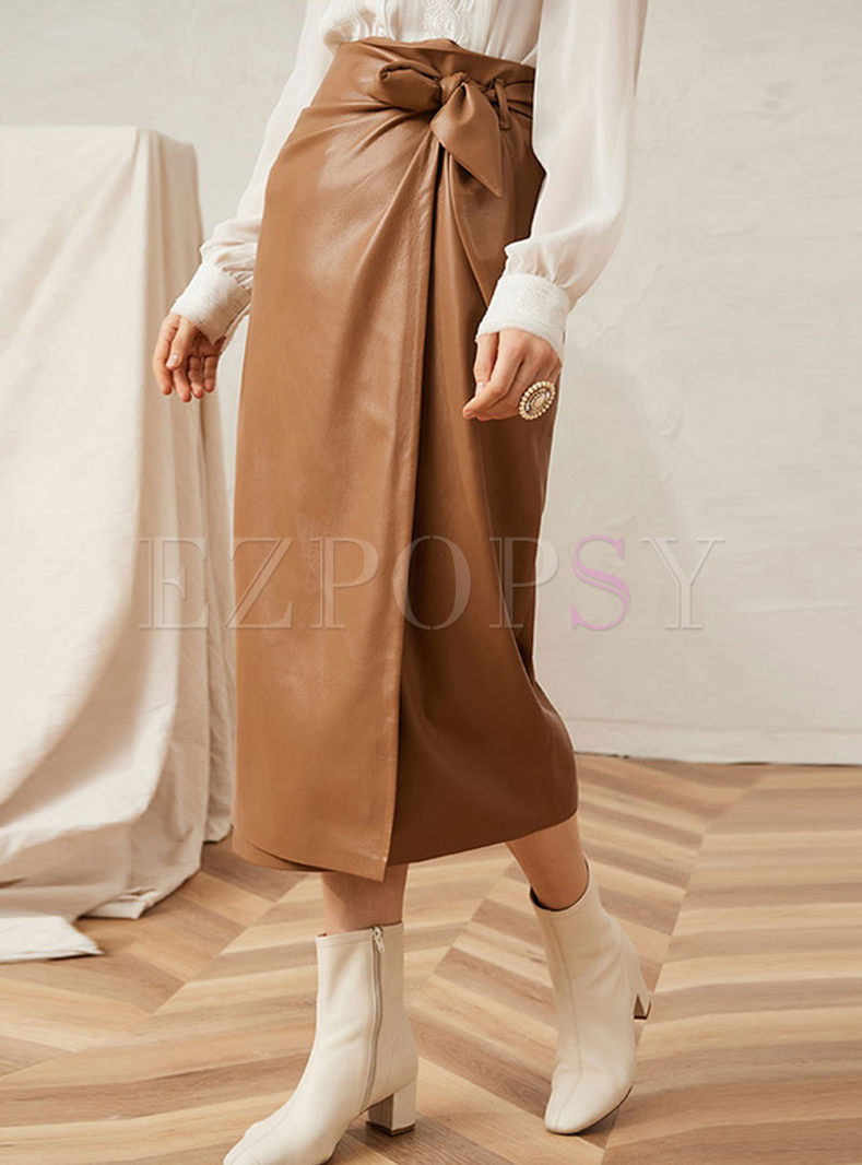 Retro High Waisted Soft Leather Skirt