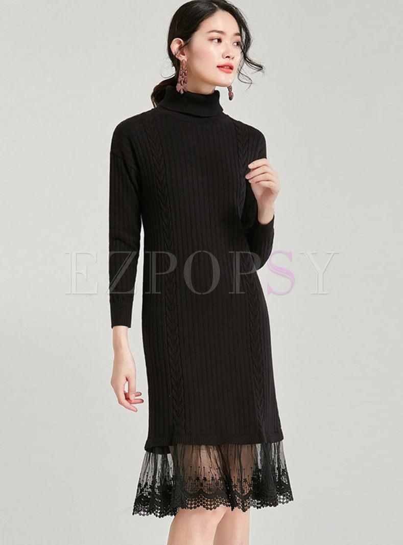 Black Turtleneck Long Sleeve Sweater Dress